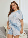 Casual Round Neck Tie-dye Loungewear Set Pajamas-Sky Blue 6