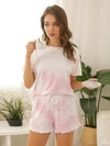 Casual Round Neck Tie-dye Loungewear Set Pajamas-Pink 5