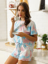 Casual Round Neck Tie-dye Loungewear Set Pajamas-Light Blue 3