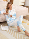 Women'S Elegant Tie-Dye Hoodies & Pants Pajama Sets-Sky Blue 1