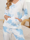 Women'S Elegant Tie-Dye Hoodies & Pants Pajama Sets-Sky Blue 5
