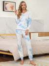 Women'S Elegant Tie-Dye Hoodies & Pants Pajama Sets-Sky Blue 4