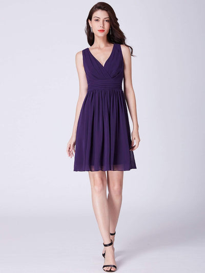 Sleeveless V Neck Short Party Dress