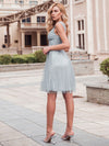 Women'S V-Neck Wedding Bridesmaid Dress Knee-Length Midi Dress-Grey 5