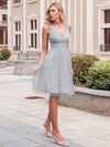 Women'S V-Neck Wedding Bridesmaid Dress Knee-Length Midi Dress-Grey 1