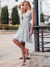 Women'S V-Neck Wedding Bridesmaid Dress Knee-Length Midi Dress-Grey 3