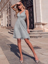 Women'S V-Neck Wedding Bridesmaid Dress Knee-Length Midi Dress-Grey 4