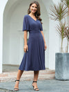 Classic V Neck Knee-Length Ruched Cocktail Dresses-Dusty Navy 3