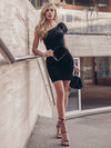 One Shoulder Short Velvet Party Dress-Black 5