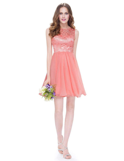 Short Fit and Flare Bridesmaid Dress with Lace Bodice
