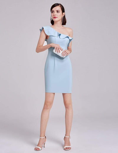 One Shoulder Ruffles Cocktail Dress