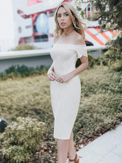 Sexy Fitted Off Shoulder Cocktail Dress