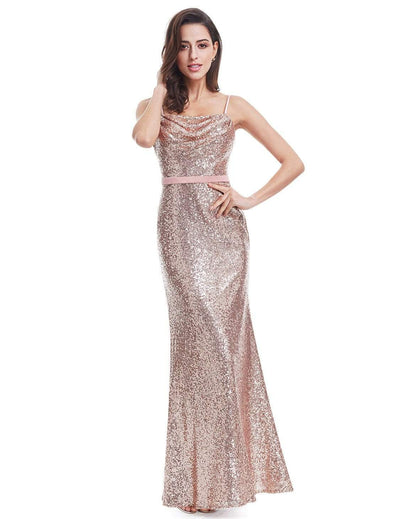 Long Flirty Cocktail Dress with Sequins