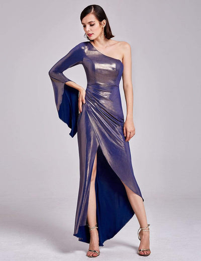 Dramatic One Shoulder Evening Party Dress