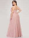 Maxi Long Double V Neck Plus Size Tulle Bridesmaid Dresses-Blush 2