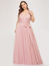 Maxi Long Double V Neck Plus Size Tulle Bridesmaid Dresses-Blush 3