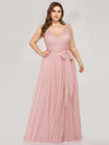 Maxi Long Double V Neck Plus Size Tulle Bridesmaid Dresses-Blush 4