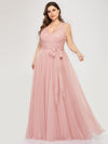 Maxi Long Double V Neck Plus Size Tulle Bridesmaid Dresses-Blush 1