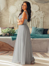 Floor Length V Neck Evening Gown-Grey 6