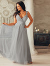 Floor Length V Neck Evening Gown-Grey 7