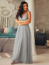 Floor Length V Neck Evening Gown-Grey 8