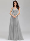Floor Length V Neck Evening Gown-Grey 9