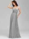 Floor Length V Neck Evening Gown-Grey 11