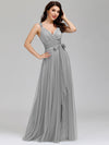 Floor Length V Neck Evening Gown-Grey 12