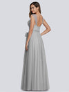 Floor Length V Neck Evening Gown-Grey 14