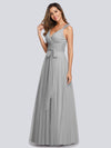 Floor Length V Neck Evening Gown-Grey 15