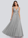 Floor Length V Neck Evening Gown-Grey 16