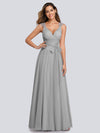 Floor Length V Neck Evening Gown-Grey 13