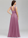 Floor Length V Neck Evening Gown-Purple Orchid 5
