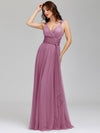 Floor Length V Neck Evening Gown-Purple Orchid 6