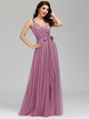 Floor Length V Neck Evening Gown-Purple Orchid 7