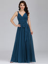 Floor Length V Neck Evening Gown-Teal 3