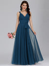 Floor Length V Neck Evening Gown-Teal 4