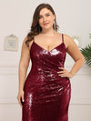 Sexy Sequin Evening Gown-Burgundy  14