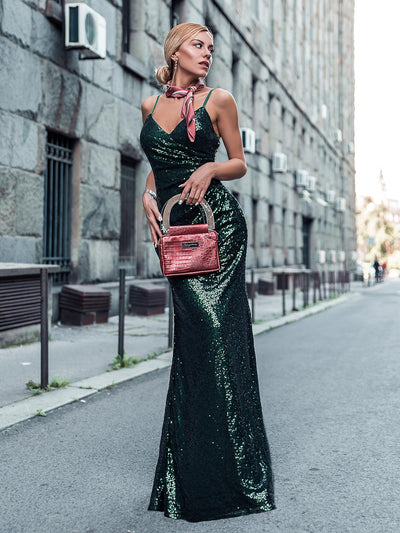 Sexy Spaghetti Straps Fishtail Sequin Evening Gowns for Women