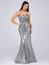 Sexy Sequin Evening Gown-Grey  5