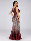 Floor Length Sequin Evening Dress With Thigh High Slit-Burgundy 4