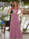 Long Prom Dress With Sequin Bust-Purple Orchid 1