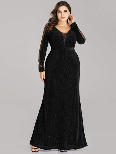 Elegant Long-Sleeve V Neck Glitter Formal Evening Dress