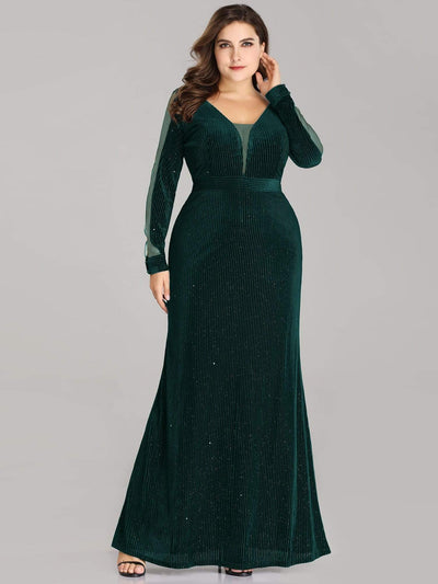 Shimmery Velvet Plus Size Evening Dresses with Long Sleeves