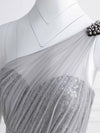Long One Shoulder Tulle Party Dress-Grey 7