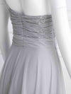 Long One Shoulder Tulle Party Dress-Grey 8