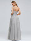 Long One Shoulder Tulle Party Dress-Grey  4