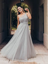 Long One Shoulder Tulle Party Dress-Grey 1