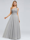 Long One Shoulder Tulle Party Dress-Grey  3