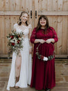 Plus Size See-Through Floor Length Lace Evening Dress With Half Sleeve-Burgundy 3